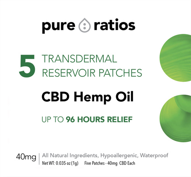 Set of 2 Pure Ratios CBD Hemp Oil Topical Pain Patch 40mg 5 Pack -10 Patches