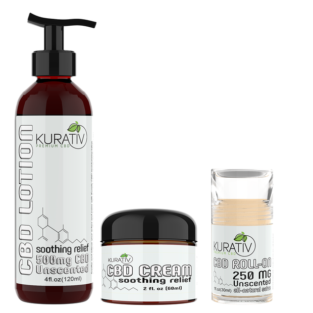Kurativ Premium CBD 3 Product Topical Bundle - Lotion, Cream, Roll-on Salve CBD