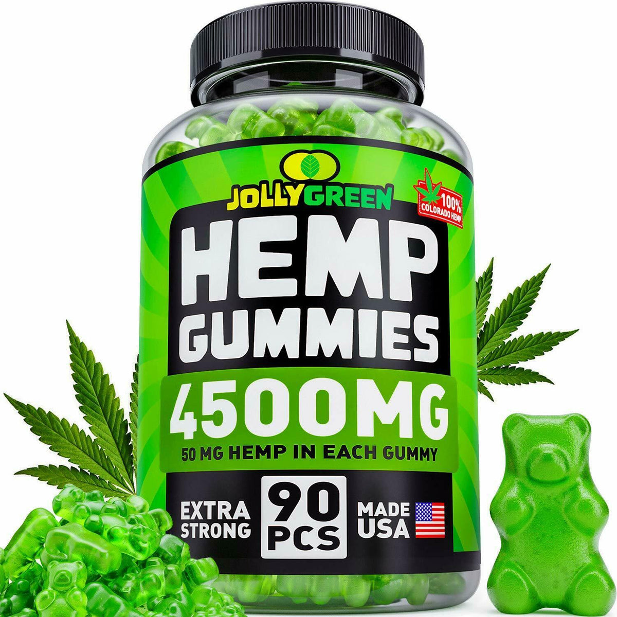 Natural Hemp Gummies Gummy 4500MG Premium Hemp 90 count edible 0CBD 0THC