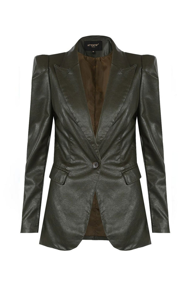 Load image into Gallery viewer, Luna PU Khaki Blazer
