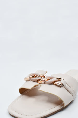 Shaney Beige Chain Flats