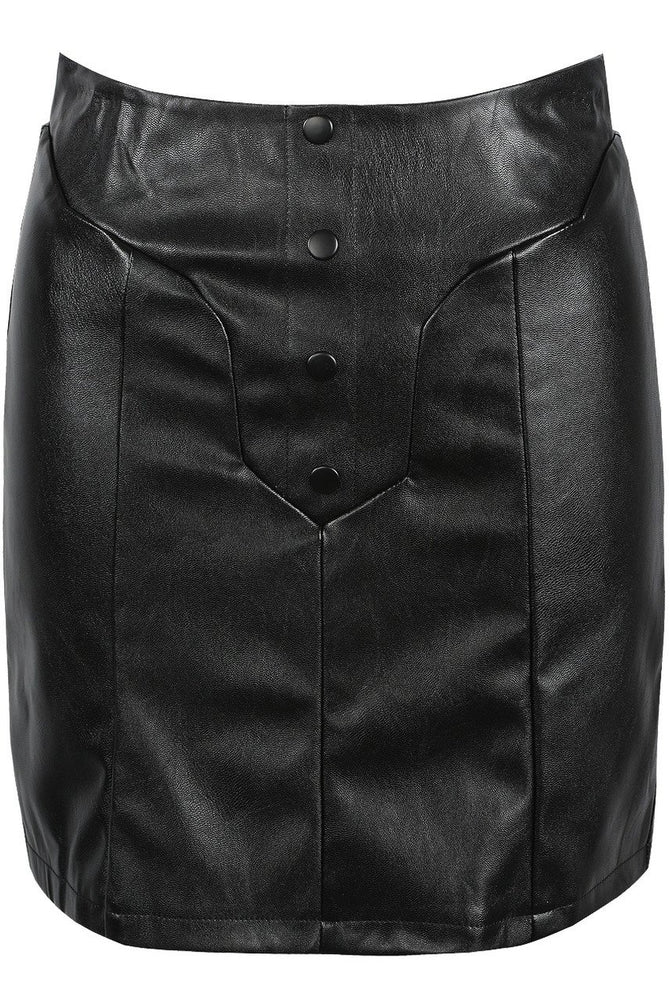 Holly Leather Look Button Mini Skirt