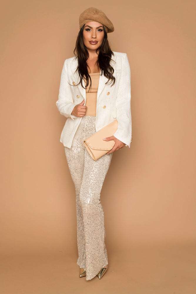 Bal White Tweed Blazer