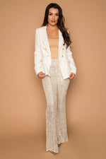 Woven White and gold Tweed Blazer