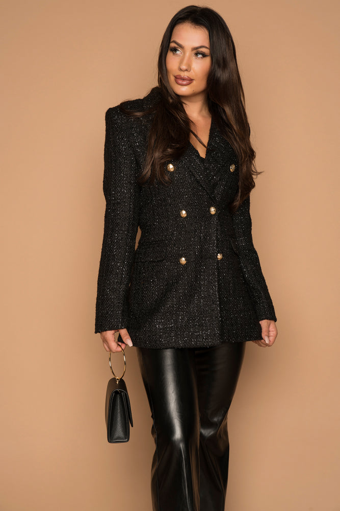 Gabriella Black Tweed Blazer