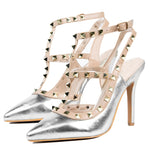 Val Silver Strap Court Shoes