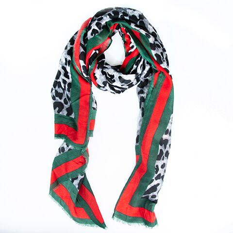 Load image into Gallery viewer, G Grey Leopard Shawl Scarf