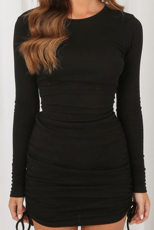Madison Side Knotted Mini Dress Black