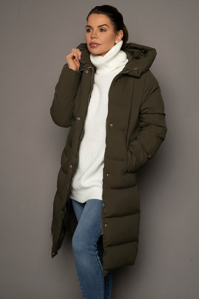 Load image into Gallery viewer, Riley Longline Puffer Coat Khaki