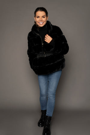Load image into Gallery viewer, Alaia Faux Fur Coat Black