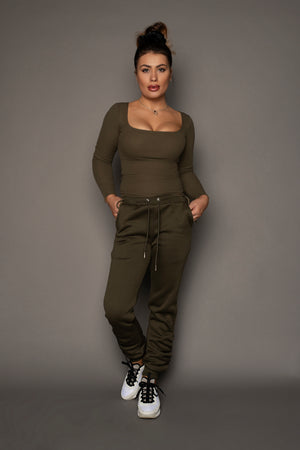 Tanya Side Knotted Top Khaki