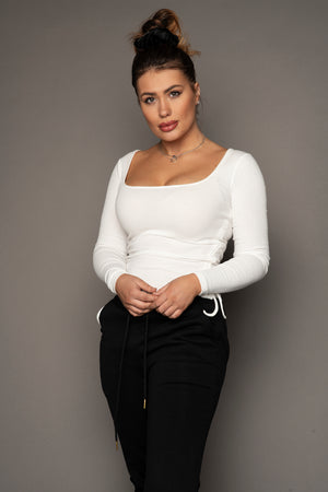 Tanya Side Knotted Top Cream