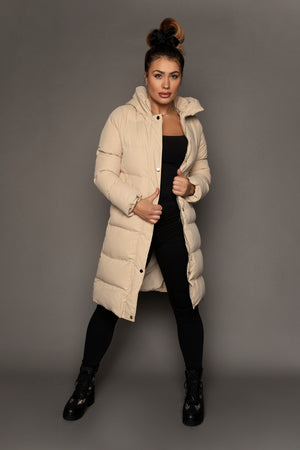 Load image into Gallery viewer, Riley Longline Puffer Coat Cream