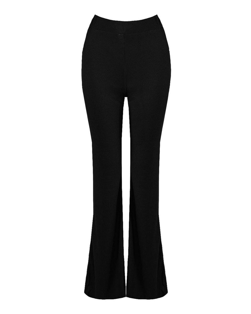 Laila Pull On Ribbed Flares Black