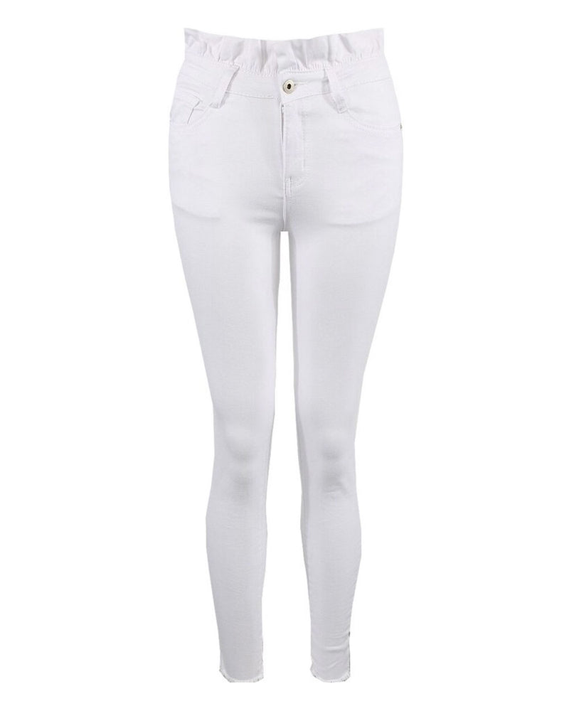 Molly White Frill Waist Jeans