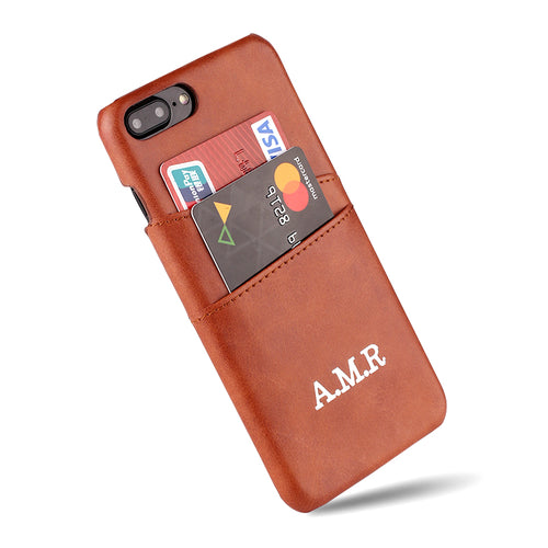 Custom Name Card Slot Phone Case With Leather