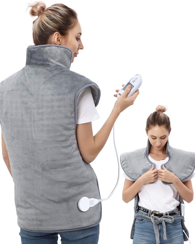 Heating Pad Vest for Neck & Shoulders, XL Heating Pad w/ Auto Shut Off, Soothe Muscle Cramps & Soreness
