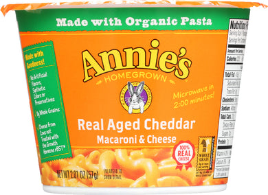 ANNIE'S HOMEGROWN: Real Aged Cheddar Microwavable Macaroni & Cheese Cup, 2.01 oz - Vending Business Solutions