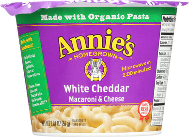 ANNIE'S HOMEGROWN: White Cheddar Microwavable Macaroni & Cheese Cup, 2.01 Oz - Vending Business Solutions