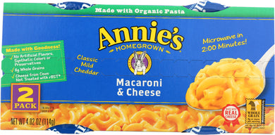 ANNIES HOMEGROWN: Mac and Cheese Micro Cups Pack of 2, 4.02 oz - Vending Business Solutions
