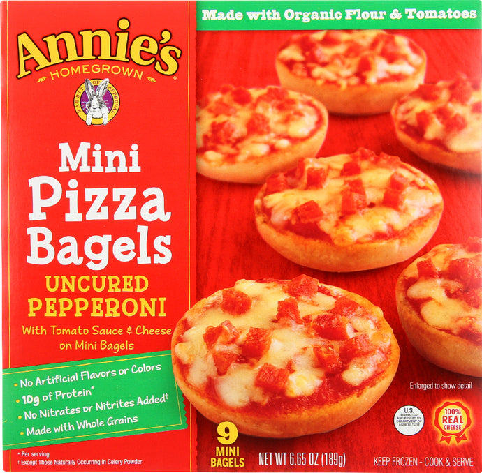 ANNIE'S HOMEGROWN: Mini Pizza Bagels Uncured Pepperoni, 6.65 oz - Vending Business Solutions