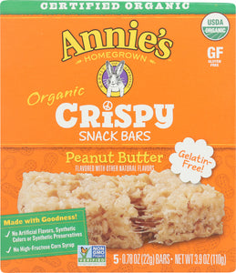ANNIES HOMEGROWN: Organic Peanut Butter Crispy Snack Bars, 3.9 oz - Vending Business Solutions