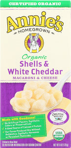 ANNIE'S HOMEGROWN: Organic Shells and White Cheddar Macaroni and Cheese, 6 Oz - Vending Business Solutions