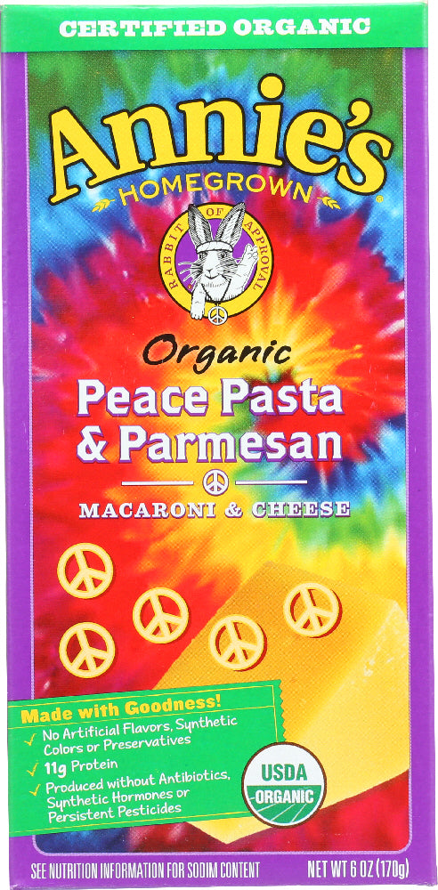 ANNIE'S HOMEGROWN: Organic Peace Pasta and Parmesan, 6 Oz - Vending Business Solutions