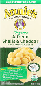 ANNIE'S HOMEGROWN: Organic Alfredo Shells & Cheddar, 6 Oz - Vending Business Solutions