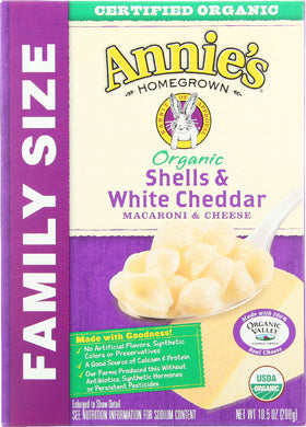 ANNIES HOMEGROWN: Mac and Cheese Shell White Cheddar Family Size, 10.5 oz - Vending Business Solutions