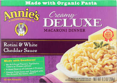 ANNIE'S HOMEGROWN: Deluxe Rotini and White Cheddar Sauce, 9.3 Oz - Vending Business Solutions