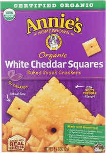 ANNIES HOMEGROWN: Organic White Cheddar Squares Crackers, 7.5 oz - Vending Business Solutions