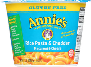 ANNIE'S HOMEGROWN: Rice Pasta & Cheddar Gluten Free Microwavable Mac & Cheese Cup, 2.01 oz - Vending Business Solutions