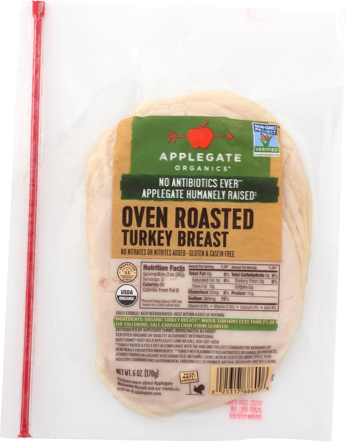 APPLEGATE: Organic Roasted Turkey Breast, 6 oz - Vending Business Solutions