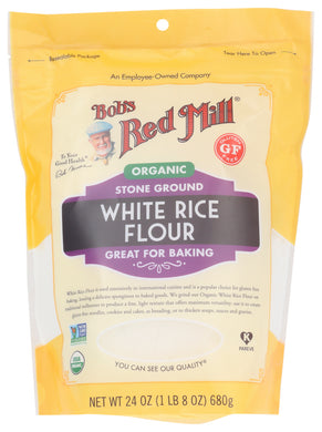 BOB'S RED MILL: Organic White Rice Flour, 24 oz - Vending Business Solutions