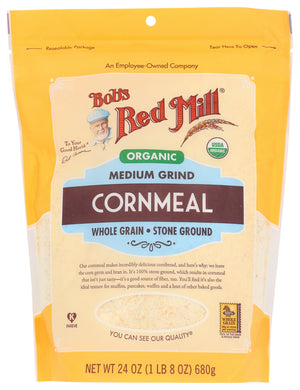 BOB'S RED MILL: Organic Medium Grind Cornmeal, 24 oz - Vending Business Solutions
