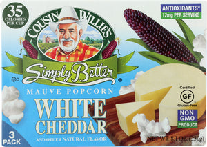 COUSIN WILLIES SIMPLY BETTER: Popcorn White Cheddar Microwave, 1 ea - Vending Business Solutions