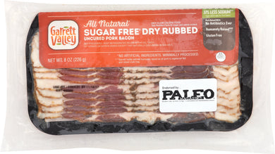 GARRETT VALLEY: Sugar Free Dry Rubbed Uncured Pork Bacon, 8 oz - Vending Business Solutions