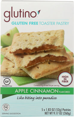 GLUTINO: Gluten Free Apple Cinnamon Toaster Pastry 5 Count, 9.2 oz - Vending Business Solutions