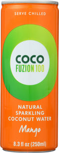 COCO FUZION 100: Natural Sparkling Coconut Water Mango, 8.3 oz - Vending Business Solutions