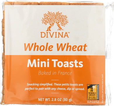 DIVINA: Whole Wheat Mini Toast, 2.8 oz - Vending Business Solutions