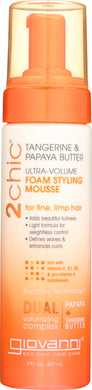 GIOVANNI COSMETICS: Ultra Volume Tangerine and Papaya Butter Foam Styling Mousse, 7 oz - Vending Business Solutions