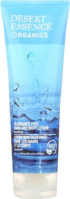 DESERT ESSENCE ORGANICS: Hand and Body Lotion Fragrance Free, 8 oz - Vending Business Solutions