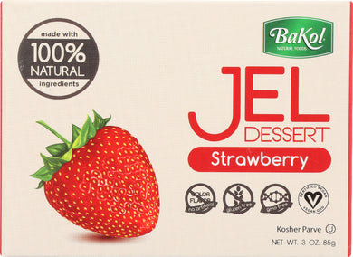 BAKOL: 100% Natural Jel Dessert Strawberry, 3 oz - Vending Business Solutions