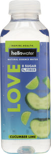 HELLOWATER: Love, Cucumber Lime Water, 16 oz - Vending Business Solutions
