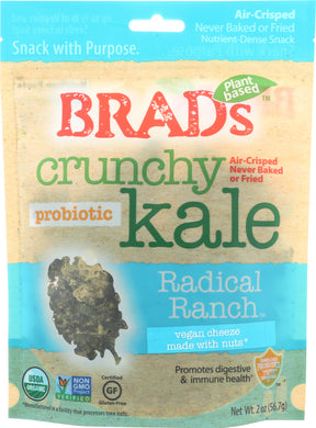BRADS RAW: Crunchy Kale Radical Ranch with Probiotic, 2 oz - Vending Business Solutions