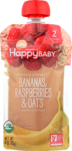 HAPPY BABY: S2 Banana Raspberry Oats Organic, 4 oz - Vending Business Solutions