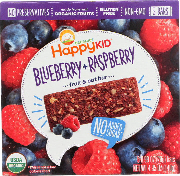 HAPPY KID: Bar Oat Blueberry and Raspberry Organic, 4.95 oz - Vending Business Solutions