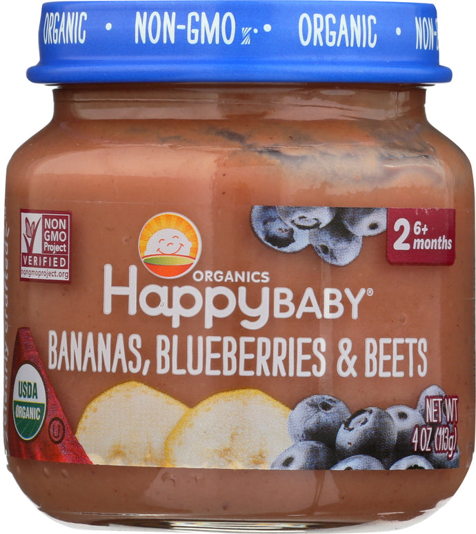 HAPPY BABY: Stage 2 Bananas Blueberries and Beets, 4 oz - Vending Business Solutions
