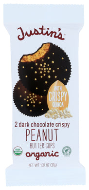 JUSTIN'S: Dark Chocolate Crispy Peanut Butter Cups, 1.38  oz - Vending Business Solutions